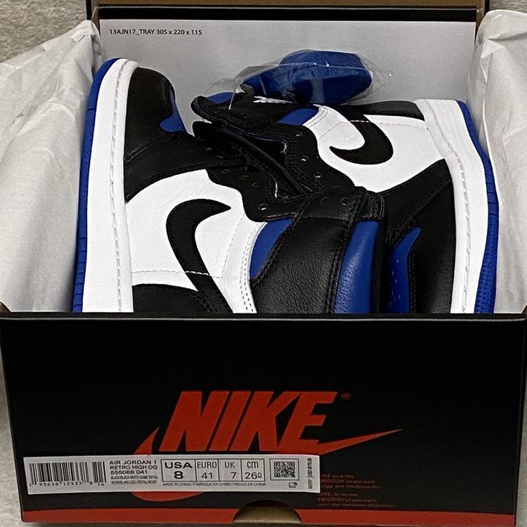 Air Jordan Nike 1 Retro High Og Gs Royal Toe Size 8 Black