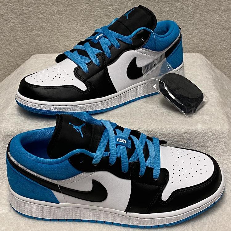 Air Jordan Nike 1 Low Se Laser Blue Gs Size 7y Black Sneakers