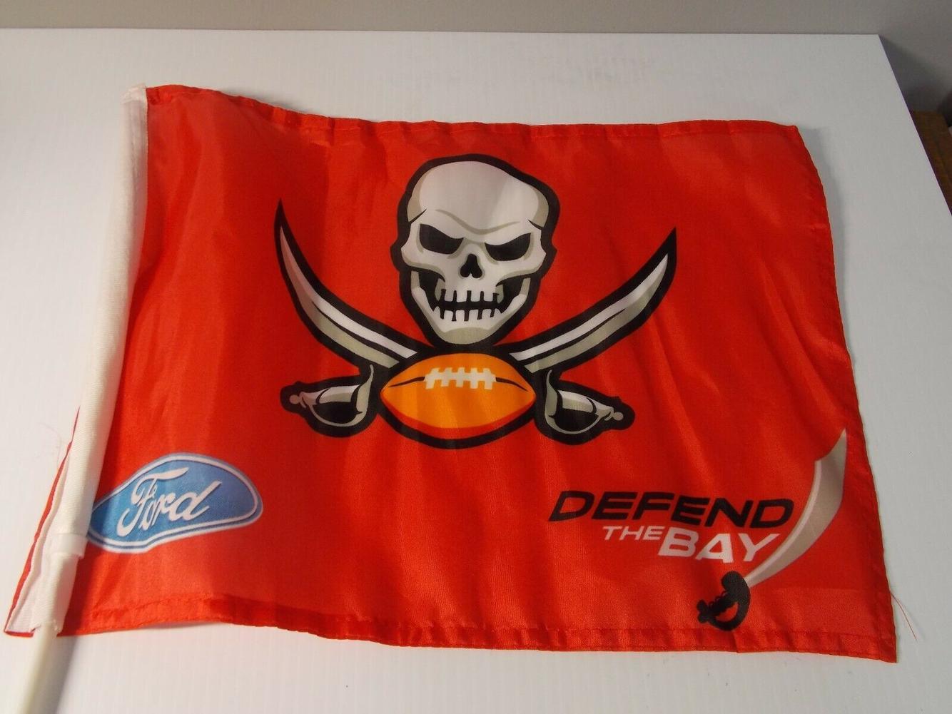 Nfl Car Window Flag Tampa Bay Buccaneers Football Memorabilia