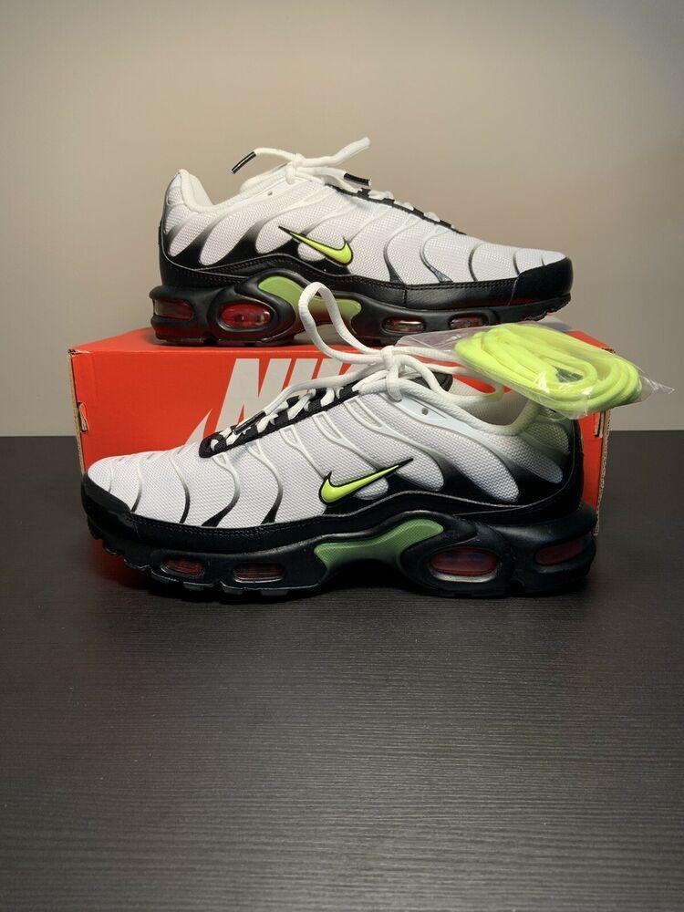 Nike Air Max Plus White Black Volt Green Men S Size 9 5 Aj2013