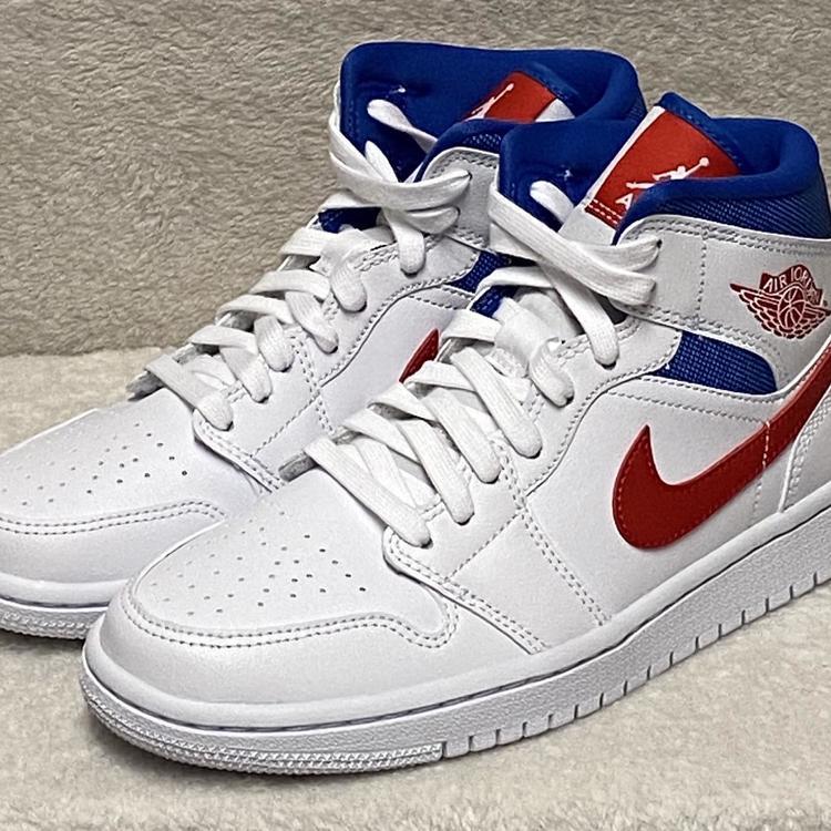Air Jordan Nike Women S 1 Mid Usa Size 7 White University Red