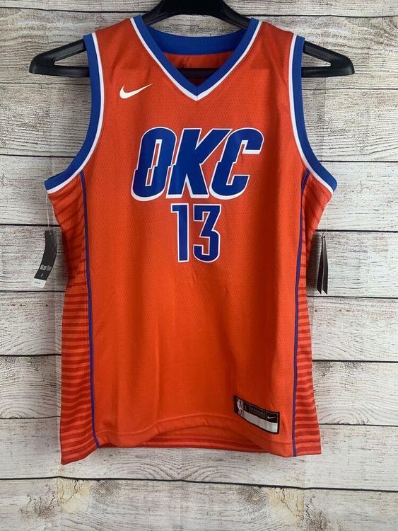 Nike Youth Paul George OKC Thunder Orange Swingman Jersey Sz M (10/12)