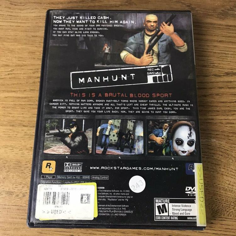 Manhunt Sony Playstation 2 Ps2 Black Label No Manual Untested Video Game Electronics Gaming Esports Console Gaming