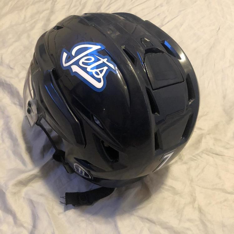 Bauer Winnipeg Jets Dmitri Kulikov Game Practice Used Home Helmet Hockey Helmets