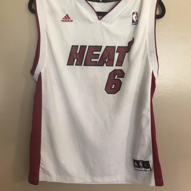 LeBron James Miami Heat White Youth XL Adidas Jersey