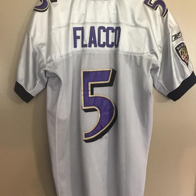 White Joe Flacco Baltimore Ravens Men's Size 50 Reebok Jersey | SidelineSwap