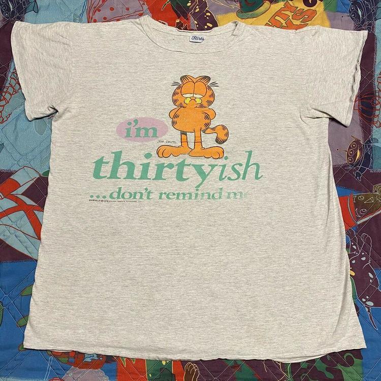 Garfield Cartoon Vintage T Shirt Adult Xl Gray Thirty Birthday Jim Davis 80s 90s Apparel Shirts