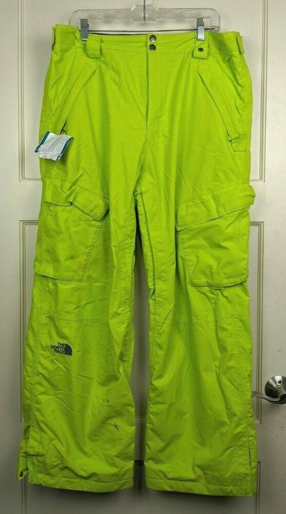 The North Face Hyvent Ski Snowboard Snow Pants Neon Green Men S Size L Skiing Apparel Outerwear