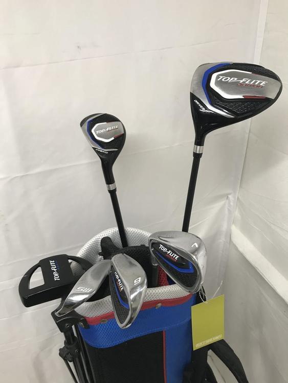 Used Top Flite Junior Left Handed 7 Piece Graphite Regular Club Sets Junior Golf Clubs