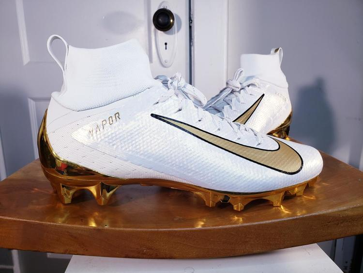 Nike Vapor Untouchable Pro 3 White Gold Mens Size 11 5 Football Cleats