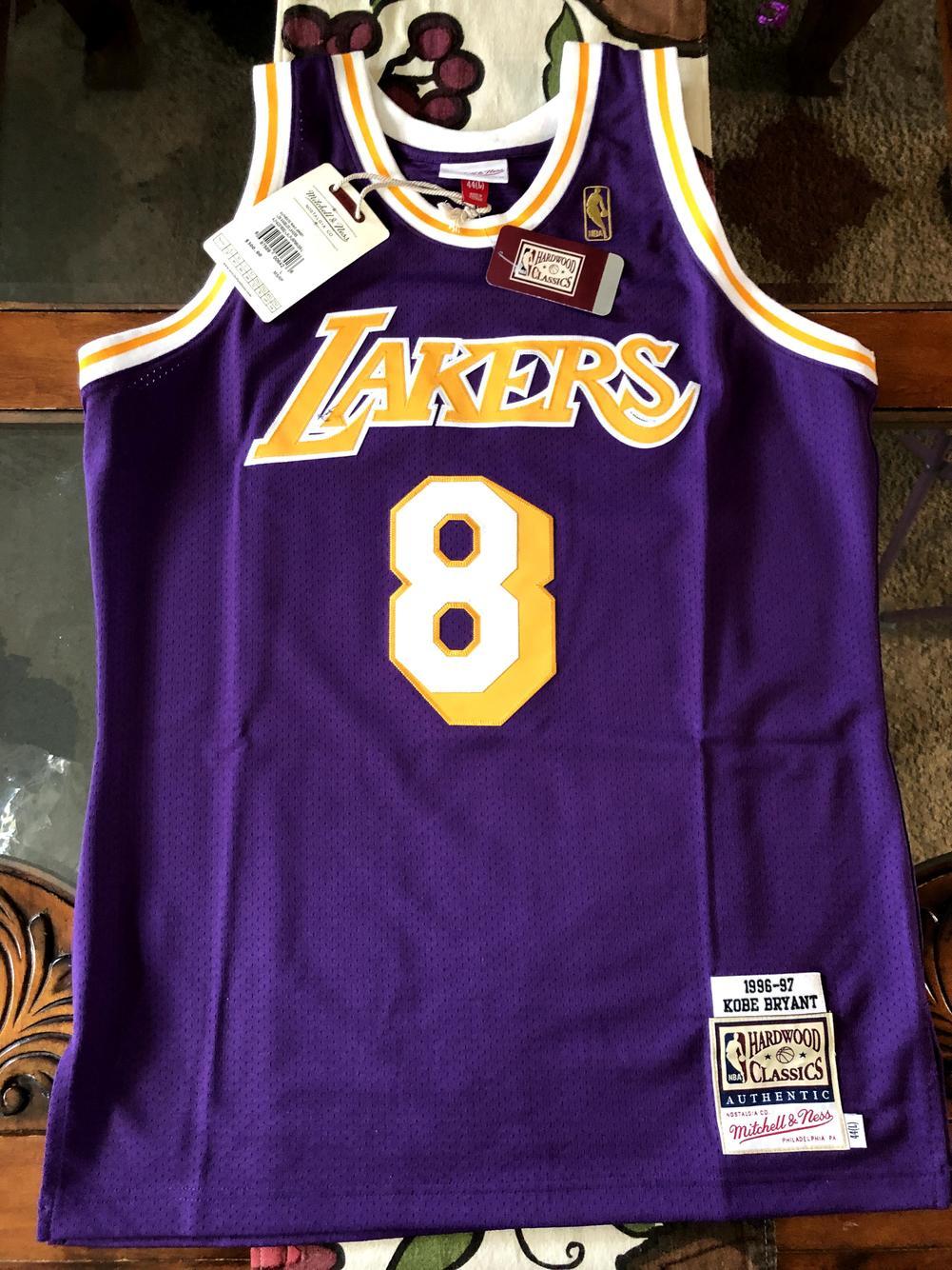 Purple 96-97' Kobe Bryant New Adult Large Mitchell & Ness Jersey ...