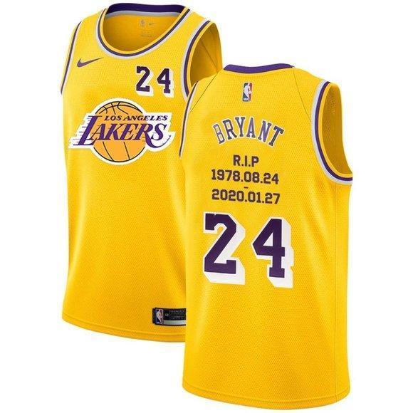 Los Angeles Lakers 24 Kobe Bryant Gold Jersey