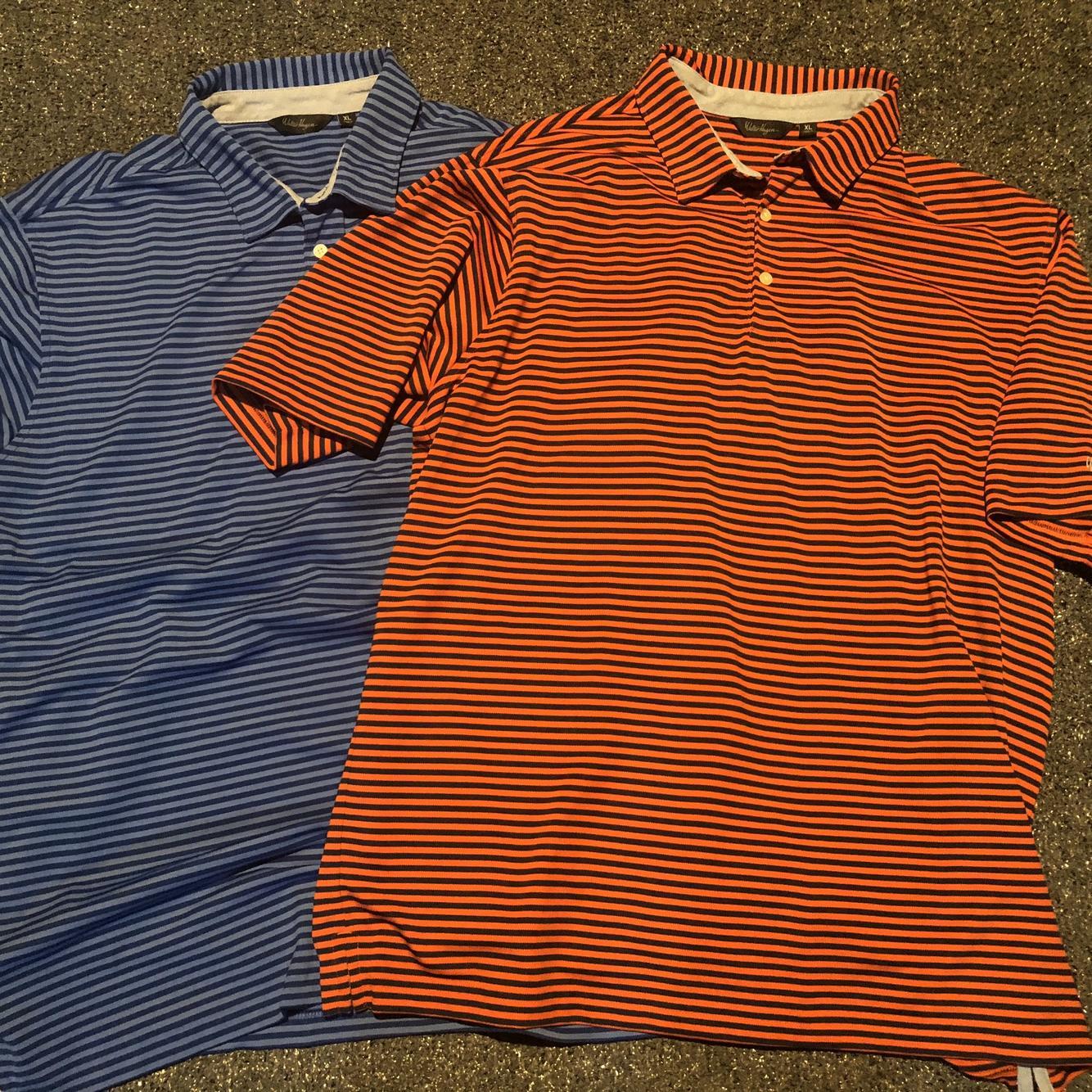 LOT 2 Walter Hagen Striped Blue Orange Men's XL Golf Polo Shirt ...