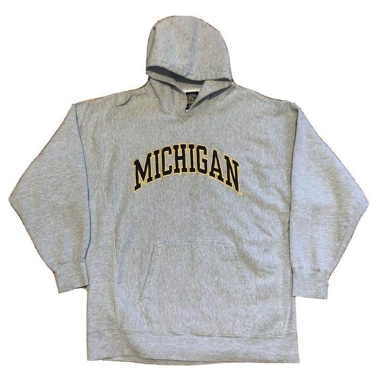 90s Mens Large University of Michigan Wolverines Spell Out Hoodie Gray 90s University of Michigan Hoodie Sweatshirt Michigan Sweatshirt,
