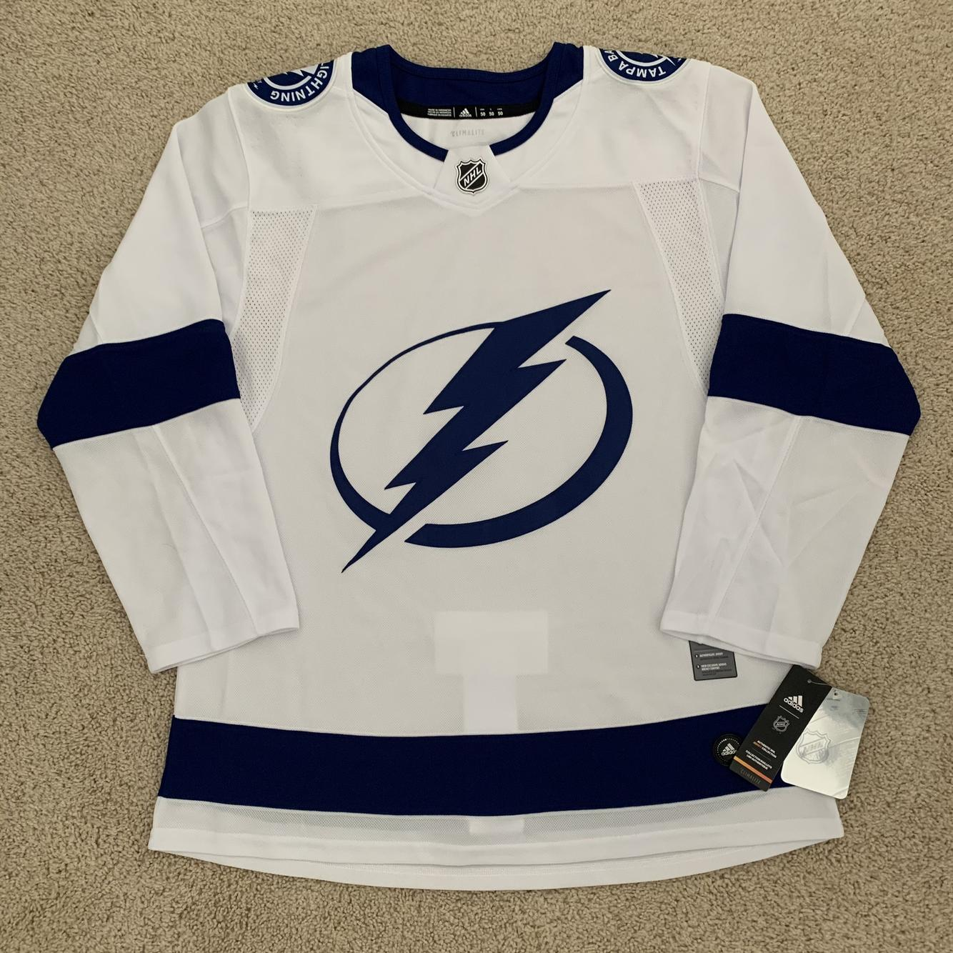Size 50) Adidas Tampa Bay Lightning Authentic White Away Pro ...
