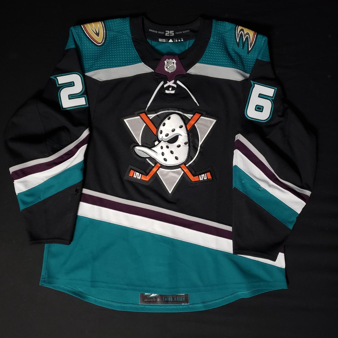 Anaheim (Mighty) Ducks Brandon Montour 2018-19 25th Anniversary Size 56 Adidas MiC Game-Worn Jersey