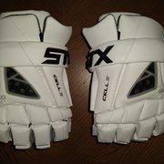 """SALE $45! White New STX Cell IV (4) Lacrosse Gloves 12"""" (medium)"""