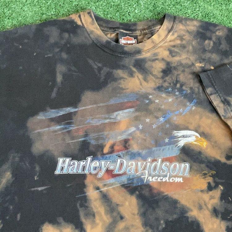 Details about  /VINTAGE Harley Davidson Shirt Adult Large Black Orange Maine Motorcycle Mens