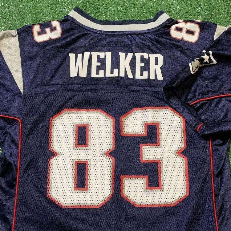 Wes Welker New England Patriots Jersey Boys Large Adult Blue NFL Football Reebok