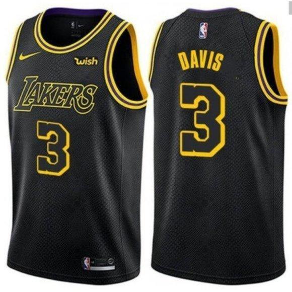 LA Lakers #3 Anthony Davis Throwback Jersey Black | SidelineSwap