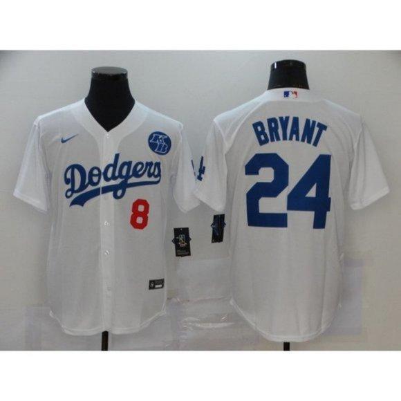 LA Dodgers Kobe Bryant Gray Baseball Jersey 8 24
