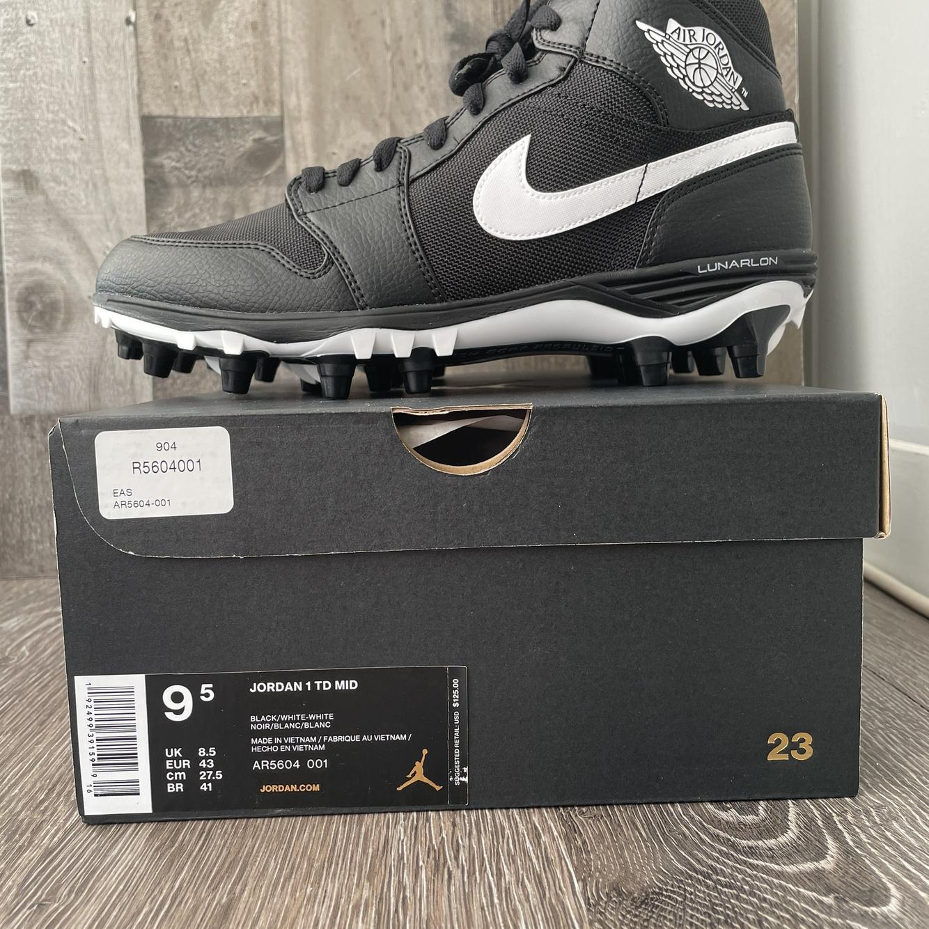 Nike Air Jordan 1 Mid TD Football Cleats Black White   SidelineSwap