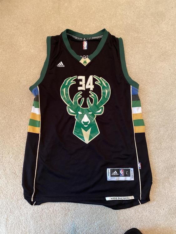 Milwaukee Bucks Giannis Antetokounmpo Black Adult Large Adidas Jersey