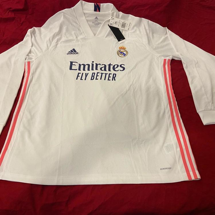 Real Madrid White New XXL Adidas AEROREADY Long Sleeve Jersey * NWT