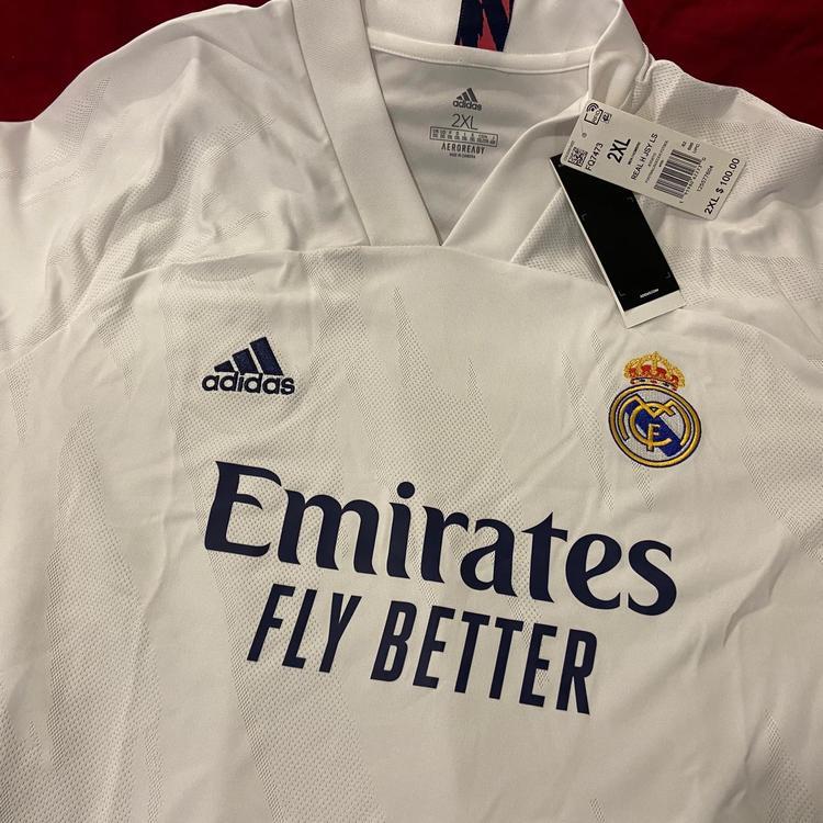 Real Madrid White New XXL Adidas AEROREADY Long Sleeve Jersey * NWT   SidelineSwap